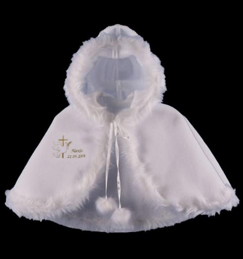 Cape de baptême blanche pour bébé personnalisée avec broderie