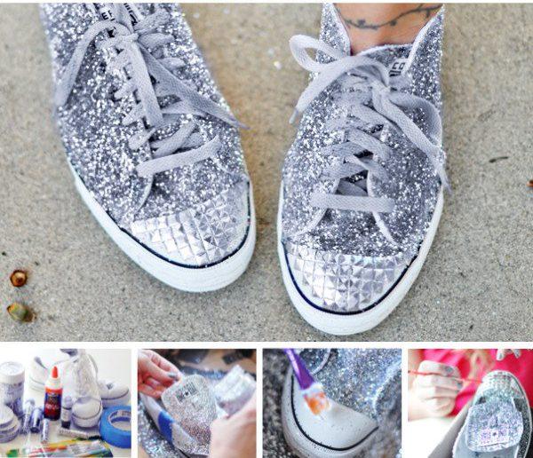 Customiser ses chaussures paillettes clous