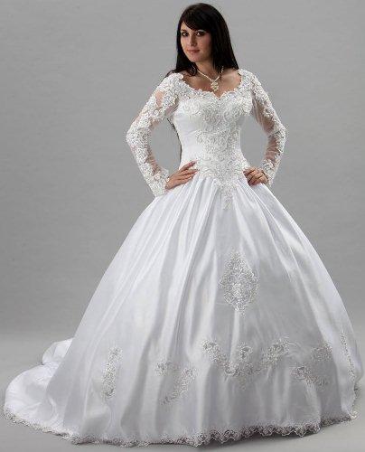 Robe de mariée avec manches en dentelle, strass et paillettes