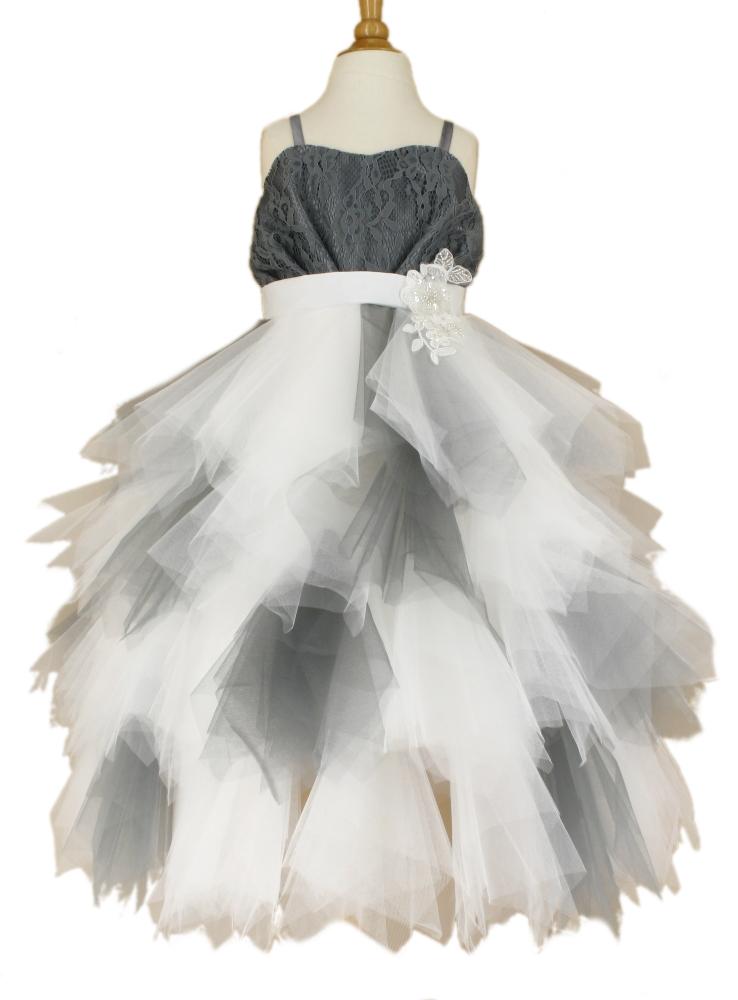 Robe de ceremonie fille grise