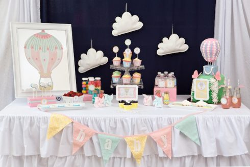 baby shower nuages