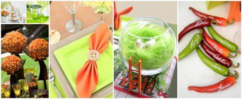 bapteme bebe theme orange vert