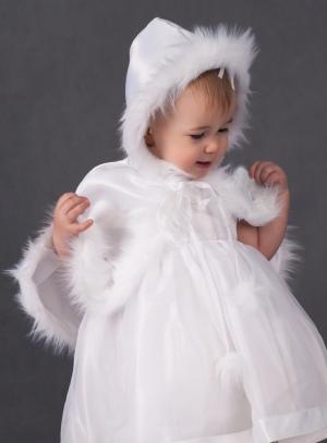 capuche baptême blanche