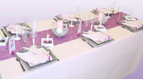 décoration communion fille blanc et violet