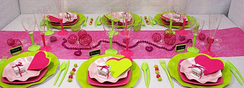 décoration communion fille fushia et vert