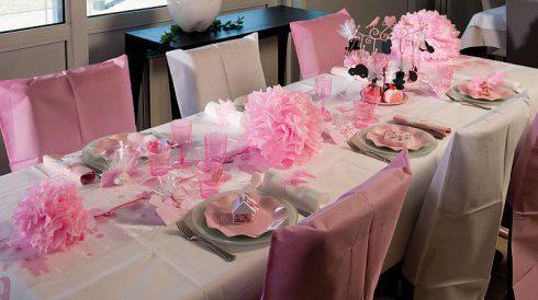 décoration communion fille rose et blanc