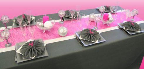 décoration communion fille rose et gris