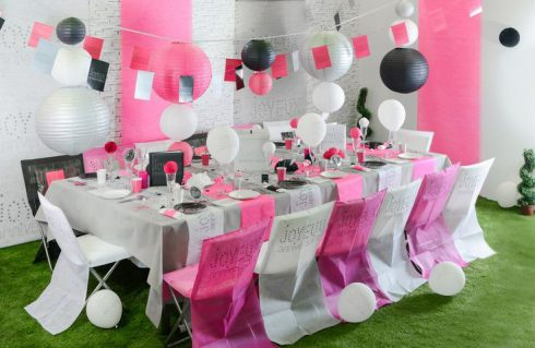 décoration communion fille rose et grise