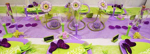 décoration communion fille violet et vert