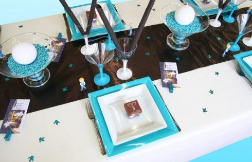 décoration communion garçon bleu et marron