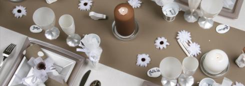 décoration communion garçon marron blanc