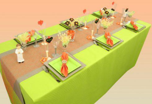 décoration communion garçon vert et orange