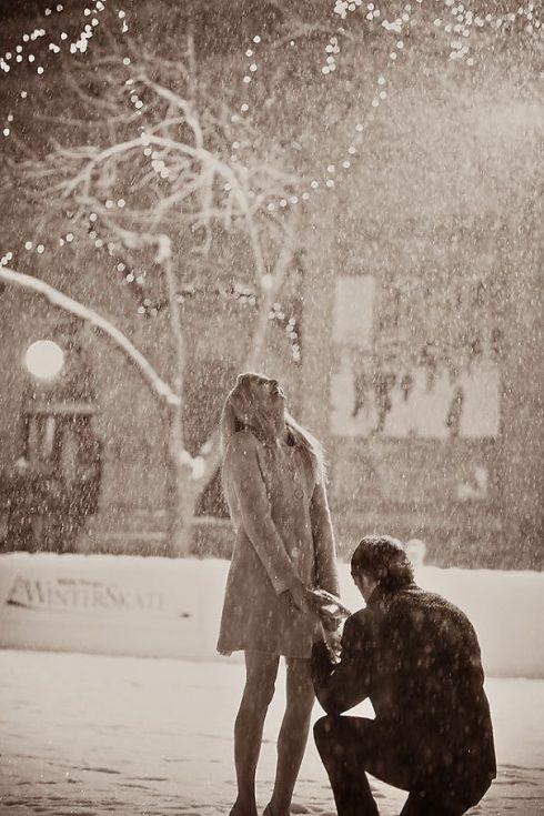 demande en mariage neige patinoire