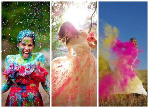 femme trash the dress peinture