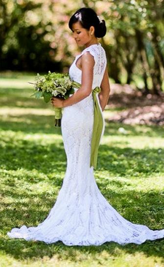 magnifique robe de mariée au crochet