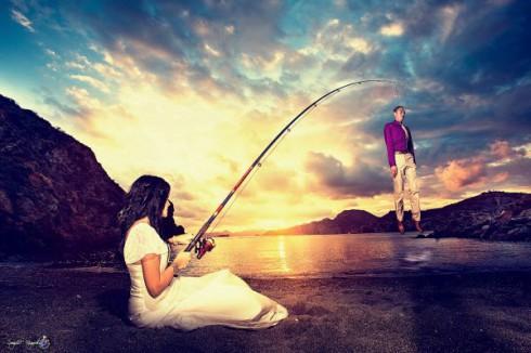 photo mariage sur le thème de la pêche