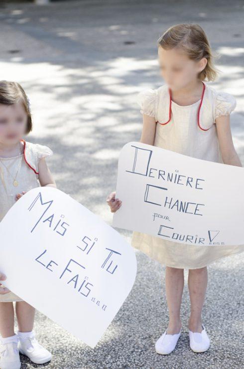 pancarte annonce de l'arrivée mariée filles
